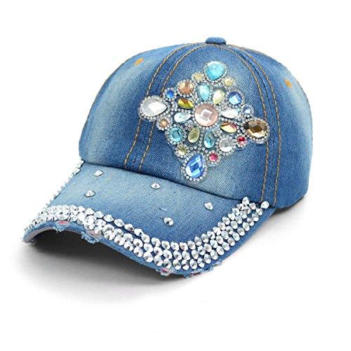 Bling Baseball Cap Hat with Diamond Emblem Design ~Studs, Rhinestones & Faux Gemstones Embellished ~ Adjustable ~ Light Dark Denim - Your Choice (Light Denim (Cap Hat Emblem)