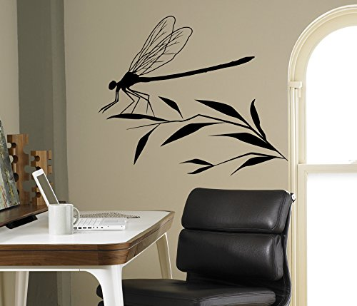 - Dragonfly on a Branch Wall Decal Flying Adder Wall Vinyl Sticker Insects Home Interior Living Room Removable Decor 10(dfl)