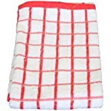Easy Comfort 100% Cotton Jumbo Terry Towelling Tea Towel, Red/White