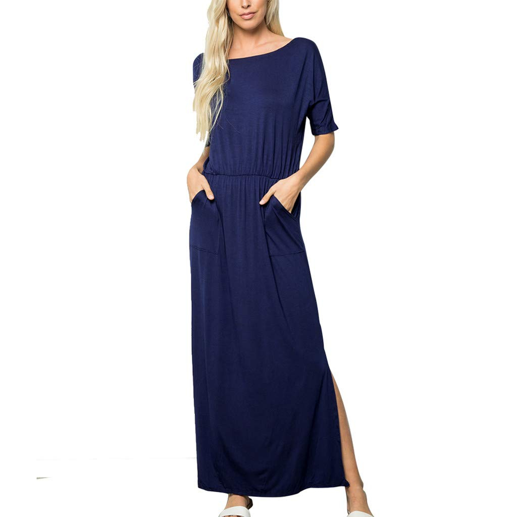 Fashion Womens Maxi Dresses Solid O-Neck Half Sleeve Pockets Ruched Elastic Waist Open Fork Long Skirt (L, Navy)