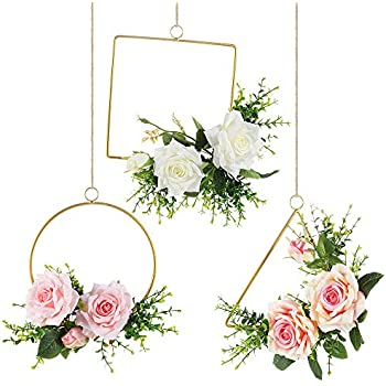 Sntieecr 3 Pack Metal Floral Hoop Wreath Set with Round Triangle Square Hoop Rings, Artificial Rose Flower and Eucalyptus Vine Wreath for Wedding Party Backdrop Hanging Decor