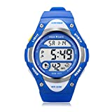 Outdoor Sports Children Watch ,Children's Waterproof Wrist Watch Kids Lightweight Silicone ,LED Digital Alarm for Girls Boys Watch Blue