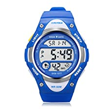 Outdoor Sports Children Watch ,Children's Waterproof Wrist Watch Kids Lightweight Silicone ,LED Digital Alarm for Girls Boys Watch Blue