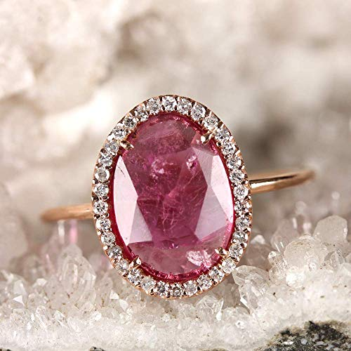 (Genuine 1.37 Ct Pink Tourmaline Gemstone Cocktail Ring Diamond Pave Solid 14k Rose Gold Fine Jewelry Gift For Her)