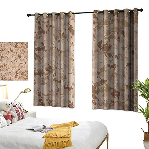 Bedroom Curtains W72 x L45 Camo,US Marine Desert Marpat Digital Texture Background in Brown Colors,Brown Pale Brown Cinnamon Living Dining Room Curtain 2 Panels Set