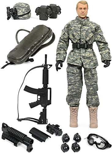 Military Inch Figures 12 (Click N' Play CNP30442 Military Airborne Infantry Troop 12