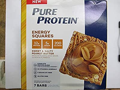 Pure Protein Energy Squares Sweet & Salty Peanut Butter, 7 Bars, Total Weight 12.32 oz