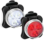USB Rechargeable Bike Light Set, Super Bright Front Headlight and Rear LED Bicycle Light, 4 Light Mode Options