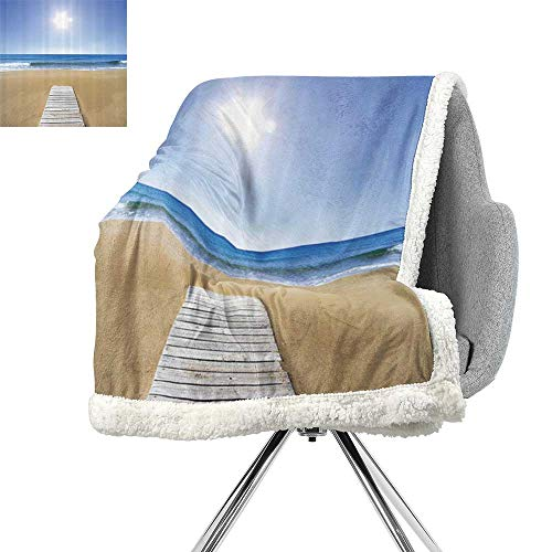 House Decor Collection Lightweight Fluffy Flannel and Sherpa Blanket,Wooden Deck on Golden Sandy Beach with Bright Sky Landscape and Sun Shine Wave Sea Print,Cream Blue,Coverlet W59xL78.7 -
