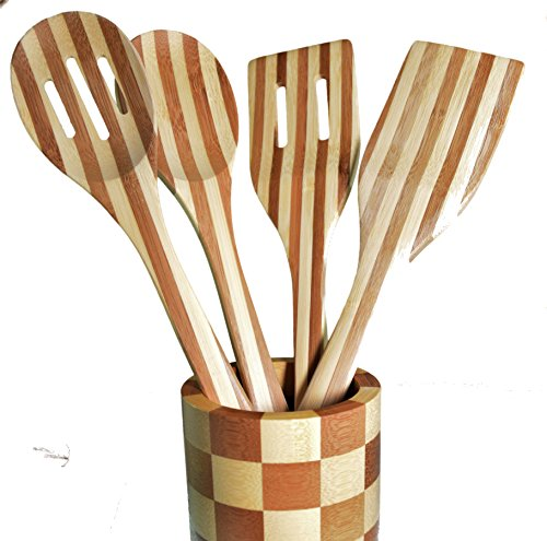 Acquisition 5 Piece Bamboo Utensil Set & Round Holder ( 1 Foot Length, 12 inches), (Spatula & Spoon) lowestprice