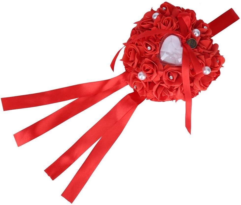 romantische Rosen-Herzform SOULONG Solulong Ringkiste Rot Ringkissen Ringkissen Kissen Ringaufbewahrung f/ür Hochzeitsringe