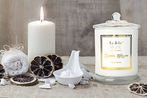 -[ Scented Candle Jasmine 100% Soy Wax in Jar, Gift Box, Large 185g 60 Hours  ]-
