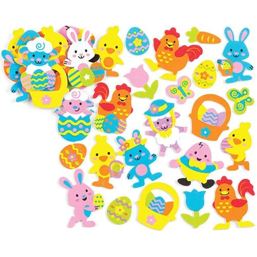 - Baker Ross Easter Foam Stickers (Pack of 120) Self-Adhesive Puffy Stickers Shapes for Scrapbook, Craft Embellishments, Decorating & Card Making