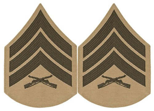 Green on Khaki USMC Chevrons - Sergeant - ()