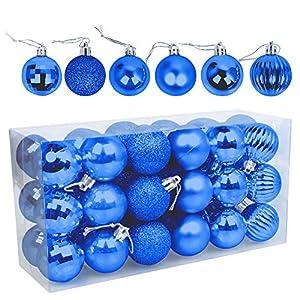 Speyang Palle di Natale 4cm, Palline Dell'Albero di Natale, Addobbi Natalizi Palline per Albero, Set Palla di Natale, Albero di Natale Palla Decorazioni con Albero Natale Scintillante—36 Pezzi (Blu) 3 spesavip