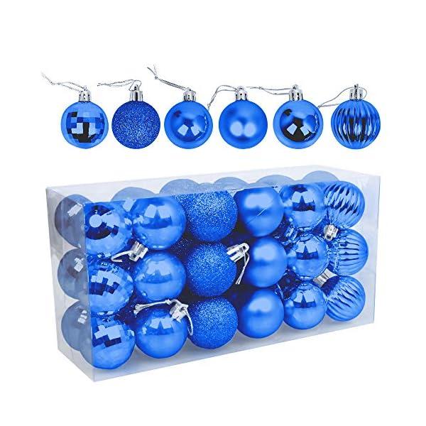 Speyang Palle di Natale 4cm, Palline Dell'Albero di Natale, Addobbi Natalizi Palline per Albero, Set Palla di Natale, Albero di Natale Palla Decorazioni con Albero Natale Scintillante—36 Pezzi (Blu) 1 spesavip