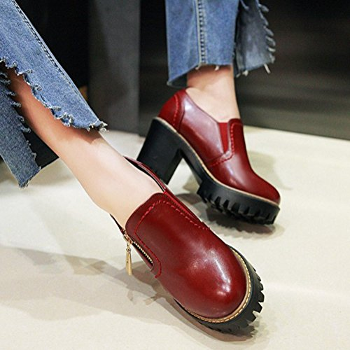 Aisun Womens Thick Sole High Block Heels Round Toe Low Top Trendy Dress Zip Up Platform Pumps Shoes Red eWUpZRyQ52