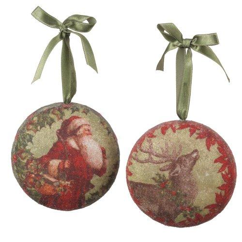 Midwest-CBK Santa and Reindeer Decoupage Christmas Ornaments Set of 2 (Set Ornament Decoupage)