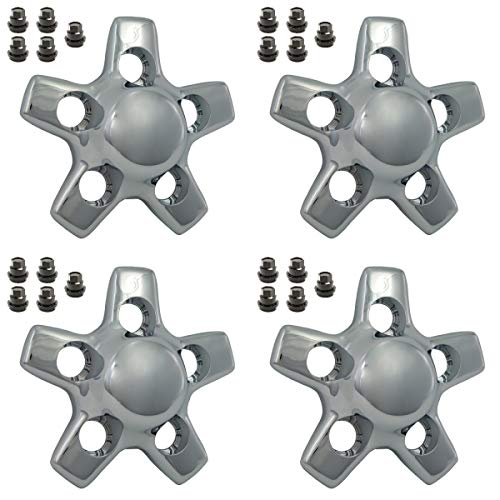 BB Auto Set of 4 New Star Chrome Wheel Hub Center Caps Replacement for 2001-2005 Chevrolet S10 Truck Blazer Also Includes 20 Black Lug nut ()