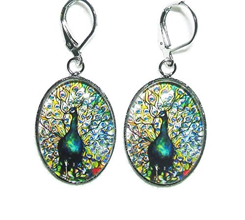 STAINED GLASS PEACOCK BIRD EARRINGS Art Illustration with GLASS COVER Silver Pltd Dangle Drops
