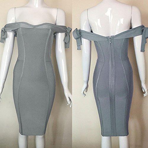 HLBandage Off Shoulder Bowknot Bind Strap Rayon Bandage Dress Gris claro