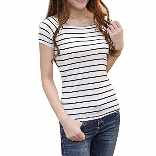 Perman Women Slim Round Neck Short Sleeve Black White Striped Shirt Blouse Tops (XL, White)