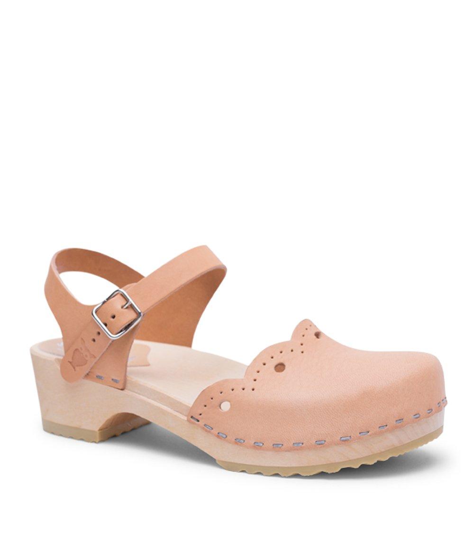 Sandgrens Swedish Wooden Low Heel Clog Sandals For Women | Milan In Nude by, Size US 9 EU 39