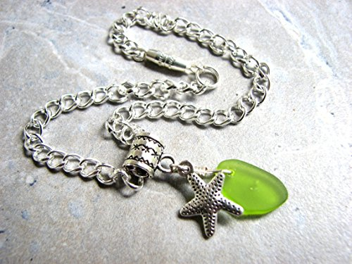 let with Starfish Charm, Ladies Ankle Bracelet in Silver and Green ()