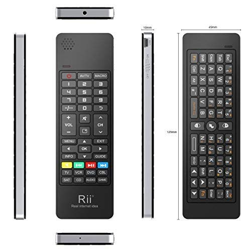 Rii K13 5 in 1 Multifunction Mini Wireless Keyboard with Fly Mouse, IR Learning Remote Control, Speaker and Microphone for PC, Smart TV Android Box Windows 2000 XP Vista 7 8 10 (Ir Learning)
