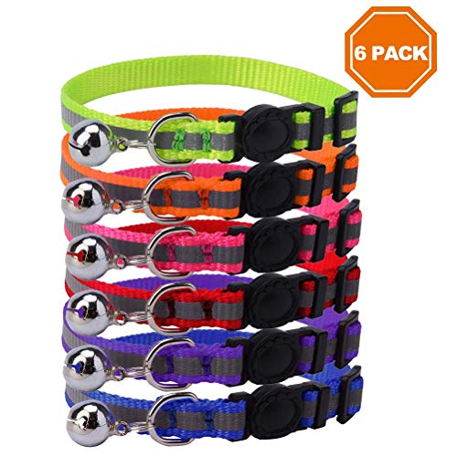 PAWCHIE Reflective Breakaway Cat Collar with Bell 6 Pcs Safety Quick Release Mixed Colors Adjustble 8-10''