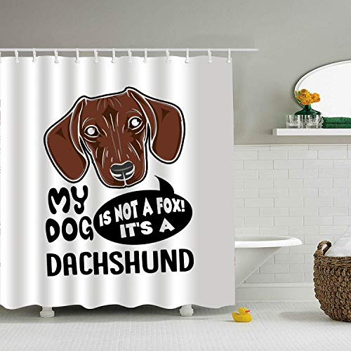 BiesMo Dachshund My Dog - Shower Curtain - Water, Soap, and Mildew Resistant - Machine Washable - Shower Hooks are Included