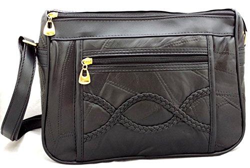 Da donna nero in vera pelle borsa a tracolla ideale per tablet in pelle con portafoglio