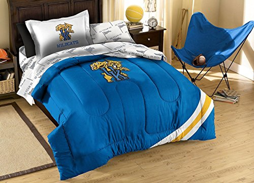 NCAA/NFL Twin Size Applique 5 pc Comforter Set-Many different Teams! (Kentucky Wildcats, Twin Size)