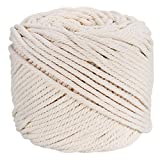 Ialwiyo Macrame Cord,No Industrial Treatment(Not Dyed),Natural Color Handmade Decorations Bohemia Soft Cotton Cord Rope For Macrame,Wall Hanging,Plant Hanger,DIY Craft Making,Knitting (3mm x 100m(about 109 yd))