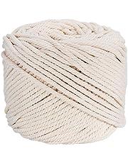 Ialwiyo Handmade Decorations Natural Cotton Bohemia Macrame DIY Wall Hanging Plant Hanger Craft Making Knitting Cord Rope Natural Color Beige