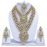Lucky Jewellery Traditional White Color Gold Plated Kundan Wedding Bridal Necklace Set for Girl & Women