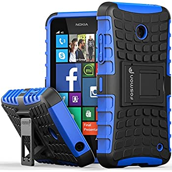 Fosmon [RUGGED] Nokia Lumia 630, Nokia Lumia 635 Case - HYBO-RAGGED Heavy Duty Hybrid Protective Cover with Kickstand - Retail Packaging (Blue)
