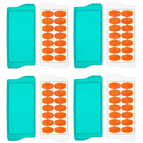 OXO TOT 4-Piece Baby Food Freezer Tray with Protective Cover, Teal