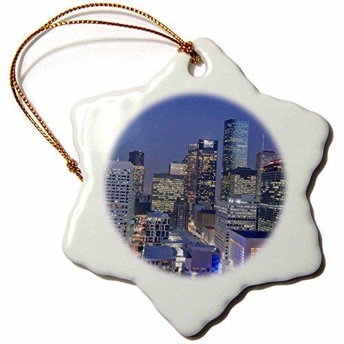 OneMtoss Texas, Houston Downtown Skyline US MDE Michael DeFreitas Snowflake Porcelain Ornament, for $<!--$10.99-->