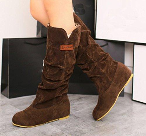 Aisun Womens Trendy Toe Rounde High Heel Low Slip Slip On Under Knee Stivali Scarpe Marrone Scuro