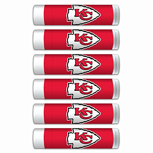 NFL Kansas City Chiefs Premium Lip Balm 6-Pack Featuring SPF 15, Beeswax, Coconut Oil, Aloe Vera, Vitamin E. NFL Gifts for Men and Women, Mother