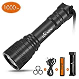 VOLADOR Diving Flashlight, 1000 Lumen Waterproof Diving Torch Rechargeable Scuba Dive Lights 150M Underwater LED Flashlight White Submersible Lights with 1x 18650 Battery and Charger