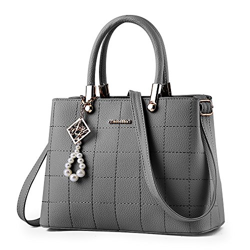 Ladies handbags shoulder bag, BESTOU women handbags designer PU leather ladies bags for Christmas Grey
