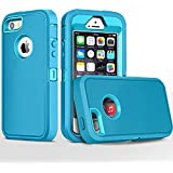 iPhone 5S Case,iPhone SE Case,Fogeek Heavy Duty PC and TPU Combo Protective Defender Body Armor Case Compatible for iPhone 5S,iPhone SE and iPhone 5 with Fingerprint Function (Light Blue/Tea Blue)