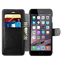 iPhone 6s Plus / iPhone 6 Plus Wallet Case, Benuo™ Leather Case, Flip Cover Case with MagneticClasp & Stand Feature for iPhone 6 Plus (2014) / iPhone 6s Plus (2015) - (Black)