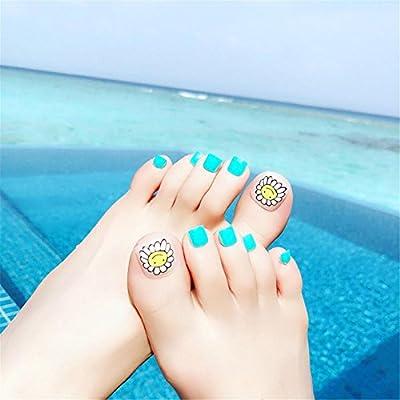 Punta de uñas punta de arte y pegamento patrón de flor del sol artificial uñas falsas longitud perfecta color puro cubierta completa belleza arte decoración ...