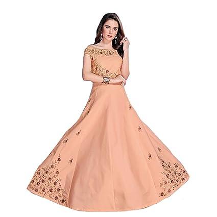 Amazon Com Peach Muslim Silk Gown Pakistani Bridal Party Wedding