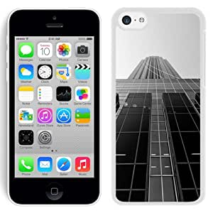 Fashion Custom Designed Cover Case For iPhone 5C Phone Case With Black And White Skyscraper_White Phone Case