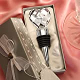 Chrome Bottle Stopper with Crystal Heart Design (Set of 72)