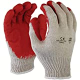 Azusa Safety L22110C Safety Gloves, Poly/Cotton, Large, White/Red (Pack of 300 Pairs)